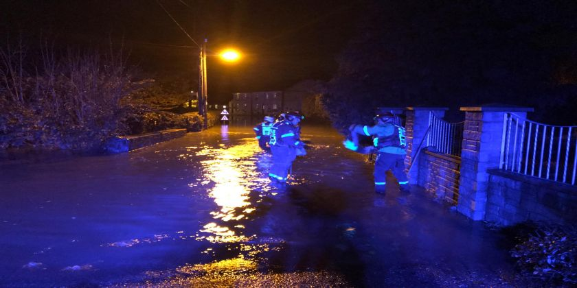 Emergency Services Dealing With Flooding At Lower Priory, Milford Haven